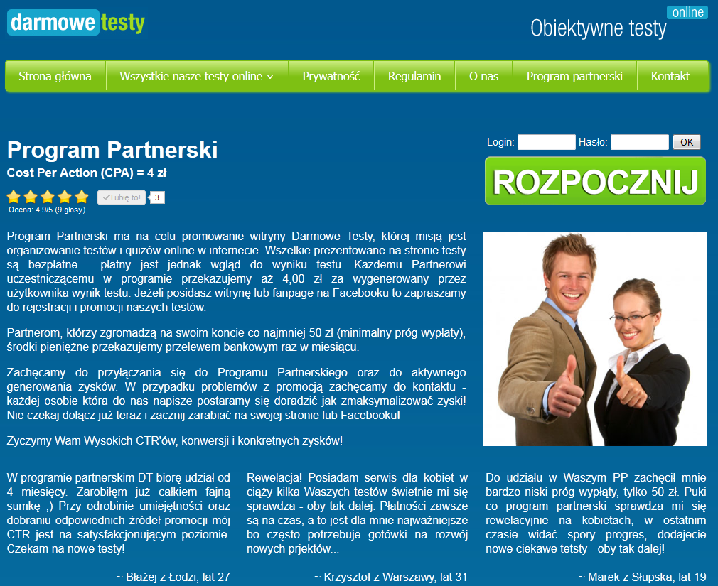 Program Partnerski Darmowe Testy